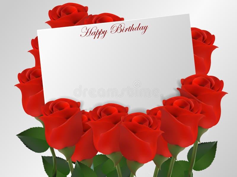 Download 与玫瑰花的生日快乐卡片 向量例证. 插画 包括有 空间, 问候, 礼品, 庆祝, 上升了, 欲望, 文本 - 72363016