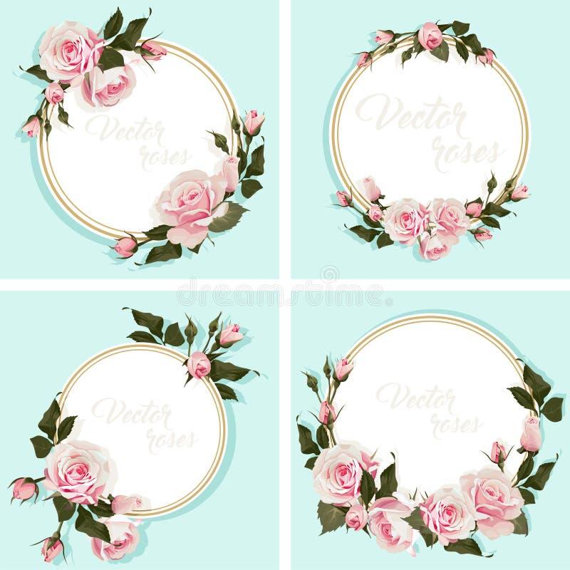 与玫瑰邀请的浪漫卡片与开花围绕框架 库存例证
