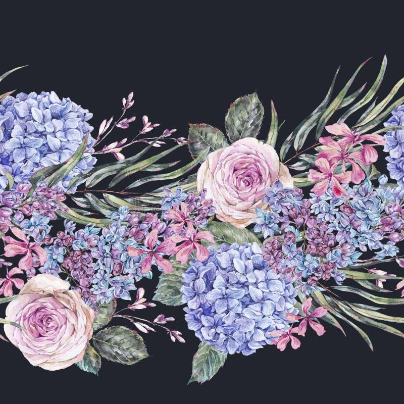 与玫瑰,淡紫色,蓝色八仙花属和野花的水彩葡萄酒花卉无缝的边界 库存例证