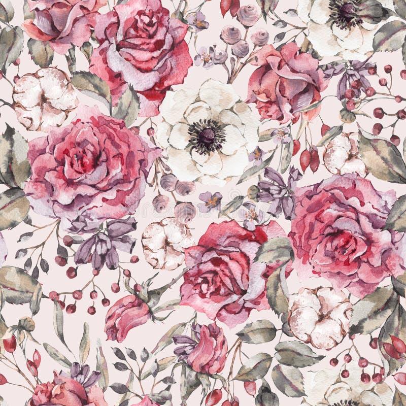 与玫瑰,银莲花属,棉花的自然水彩无缝的样式 向量例证