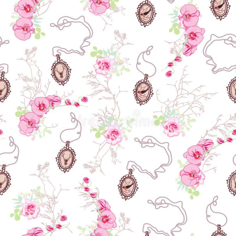 与玫瑰,链大奖章的兰花的浪漫传染媒介样式 库存例证