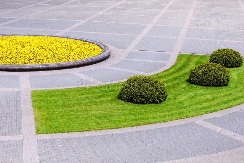 与环境美化的植物的都市方形的细节 免版税图库摄影