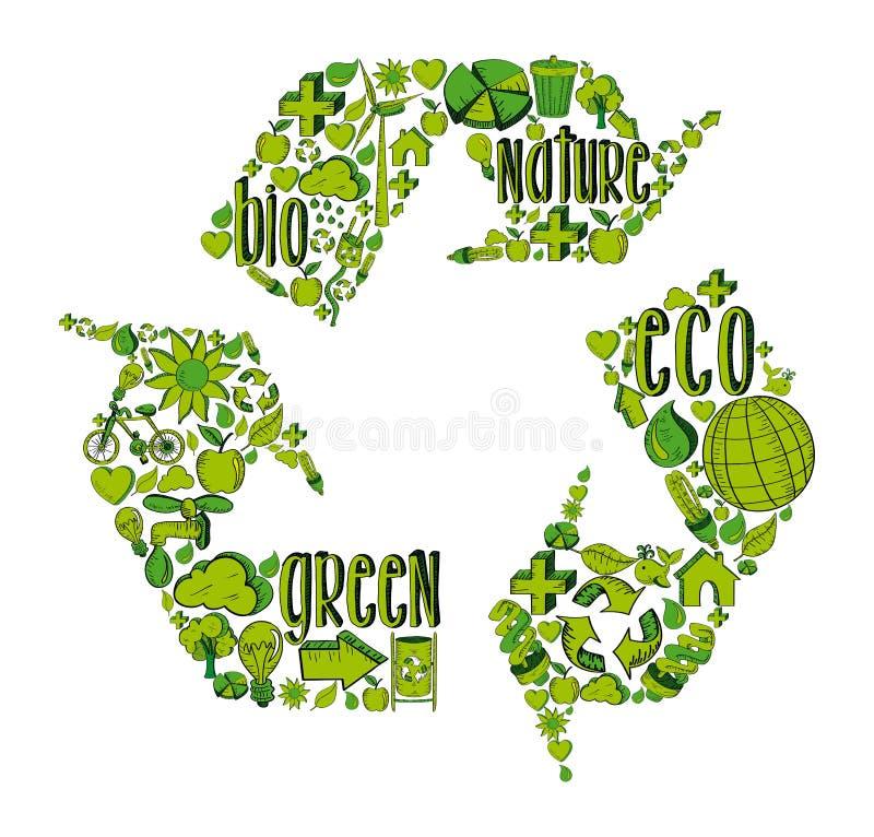 与环境象的绿色回收的标志 皇族释放例证