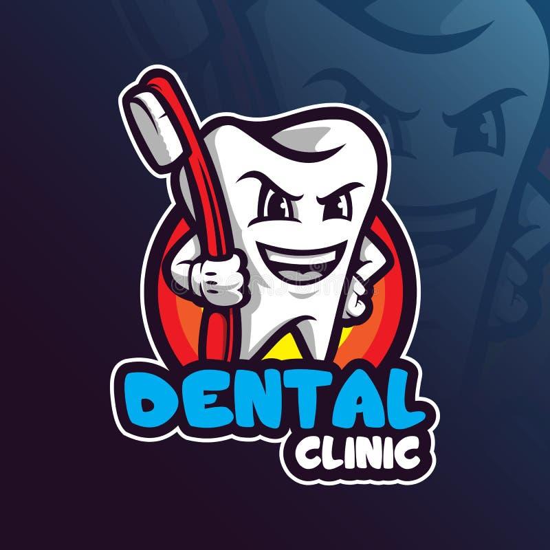 与现代例证概念样式的牙齿吉祥人商标设计传染媒介徽章、象征和T恤杉打印的 牙齿 皇族释放例证