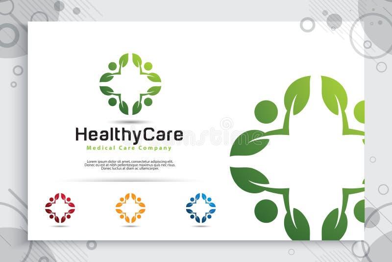 与现代共同作用概念,标志有叶子的例证人的创造性的叶子人传染媒介商标设计数字为健康 向量例证