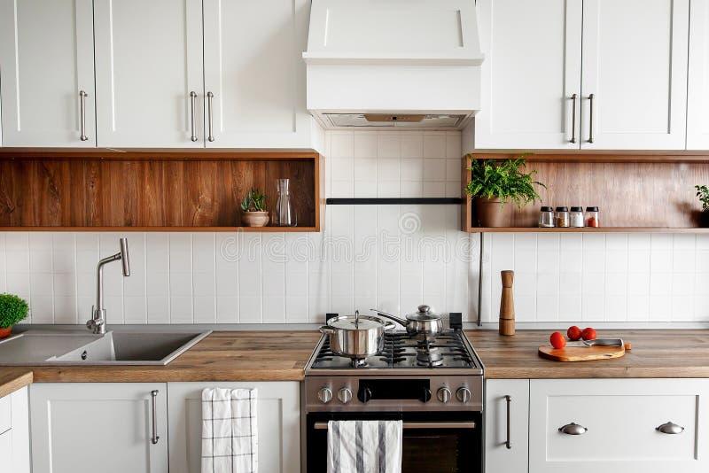 与现代内阁和不锈的stee的时髦的厨房内部 免版税库存照片