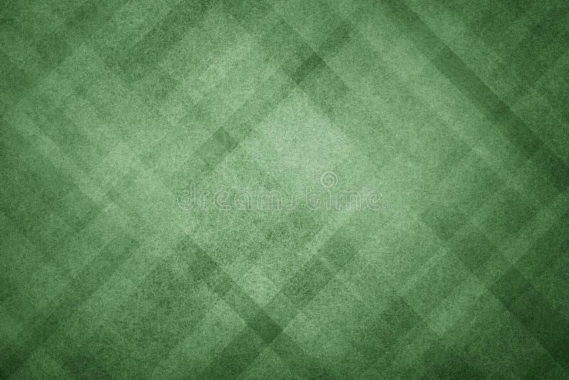 与现代几何样式设计和老退色的葡萄酒纹理的绿色抽象背景在黑暗的圣诞节颜色 向量例证