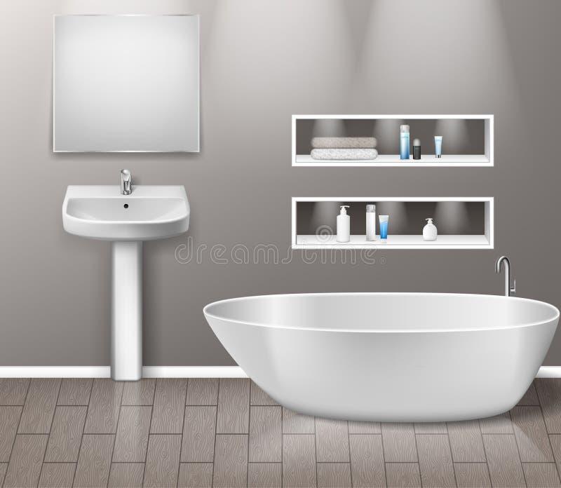 与现代卫生间水槽、镜子、架子、浴缸和装饰元素的现实卫生间家具内部在灰色 向量例证