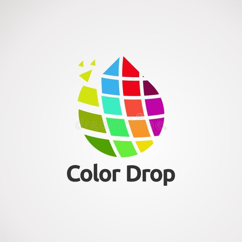 与现代接触商标传染媒介、象、元素和模板的颜色下落事务的 库存例证