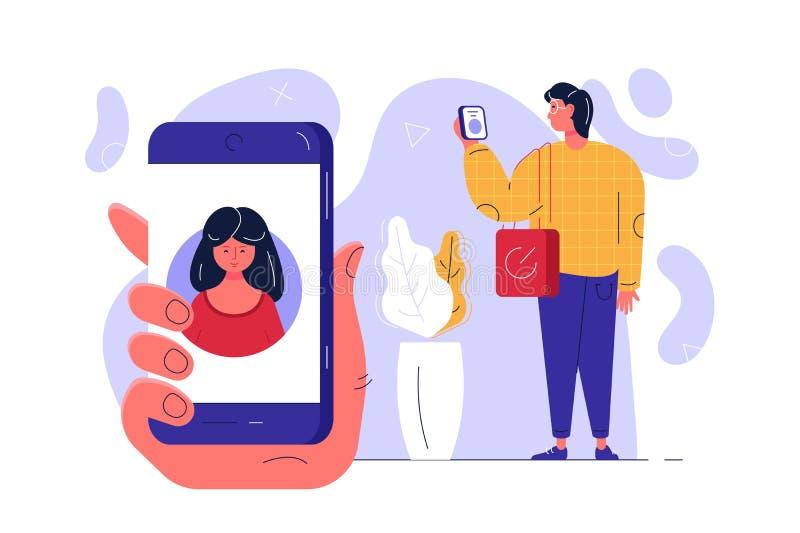 与现代智能手机的人身分 向量例证