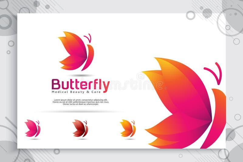 与现代样式的五颜六色的蝴蝶传染媒介商标设计,蝴蝶例证摘要数字创造性的模板的和 向量例证