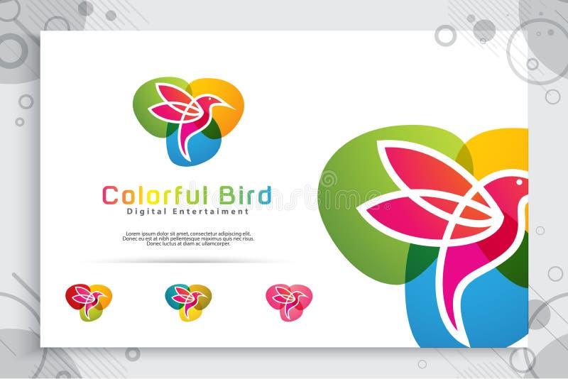 与现代样式,例证数字创造性的模板的摘要鸟的五颜六色的鸟传染媒介商标设计 库存例证