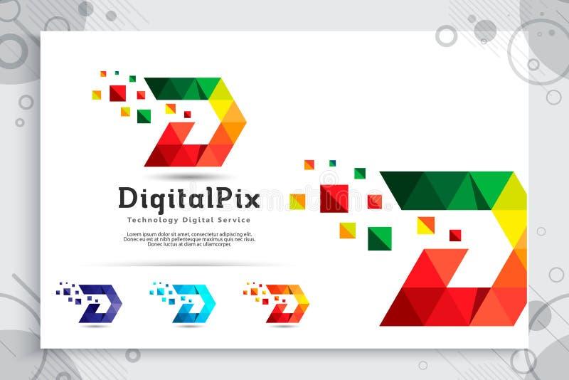 与现代概念,信件D的例证的五颜六色的数字映象点信件D传染媒介商标与映象点概念用途的数字的 向量例证