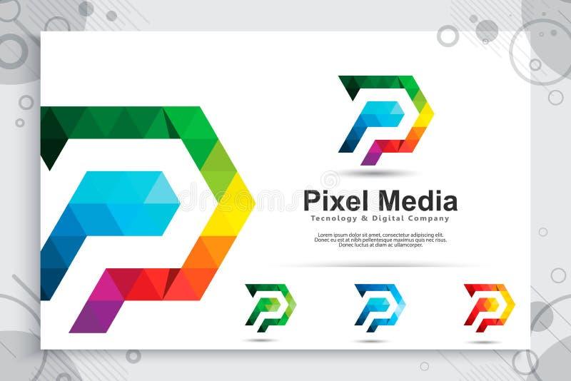 与现代概念,信件P的例证的五颜六色的数字映象点信件P传染媒介商标与映象点概念用途的数字的 向量例证
