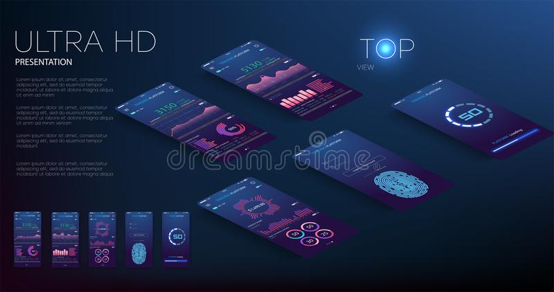 与现代设计每周和每年统计图表的流动app infographic模板 圆图,工作流,网络设计, 皇族释放例证