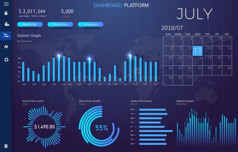 与现代设计每年统计图表的仪表板infographic模板 UI元素 库存例证