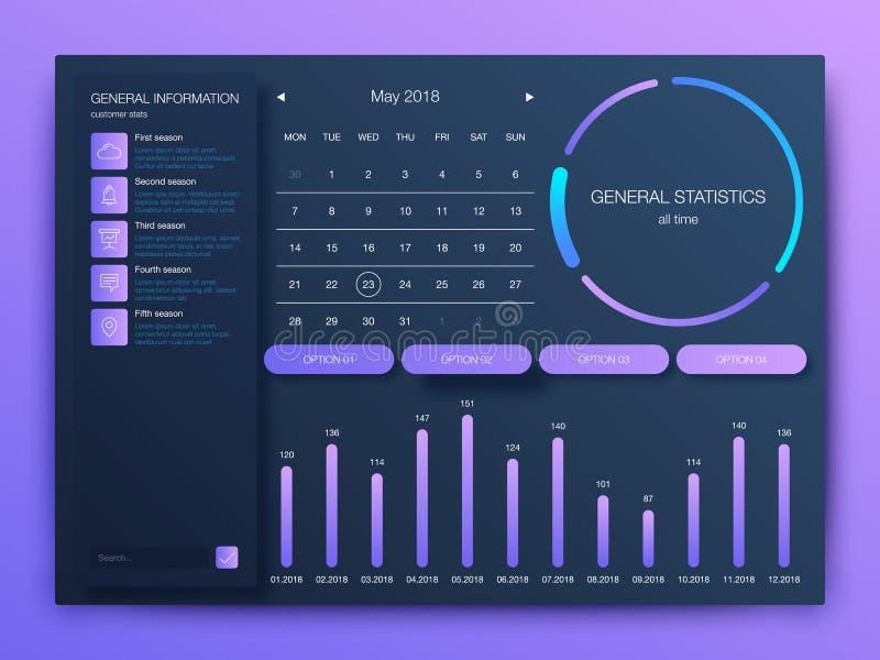 与现代设计的仪表板infographic模板 皇族释放例证