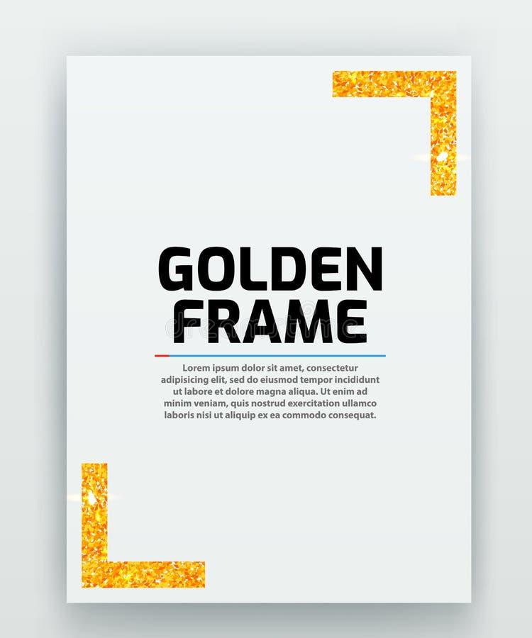 与现代金子传染媒介框架的白纸 金属梯度 证明的模板 典雅的颜色 o 库存例证