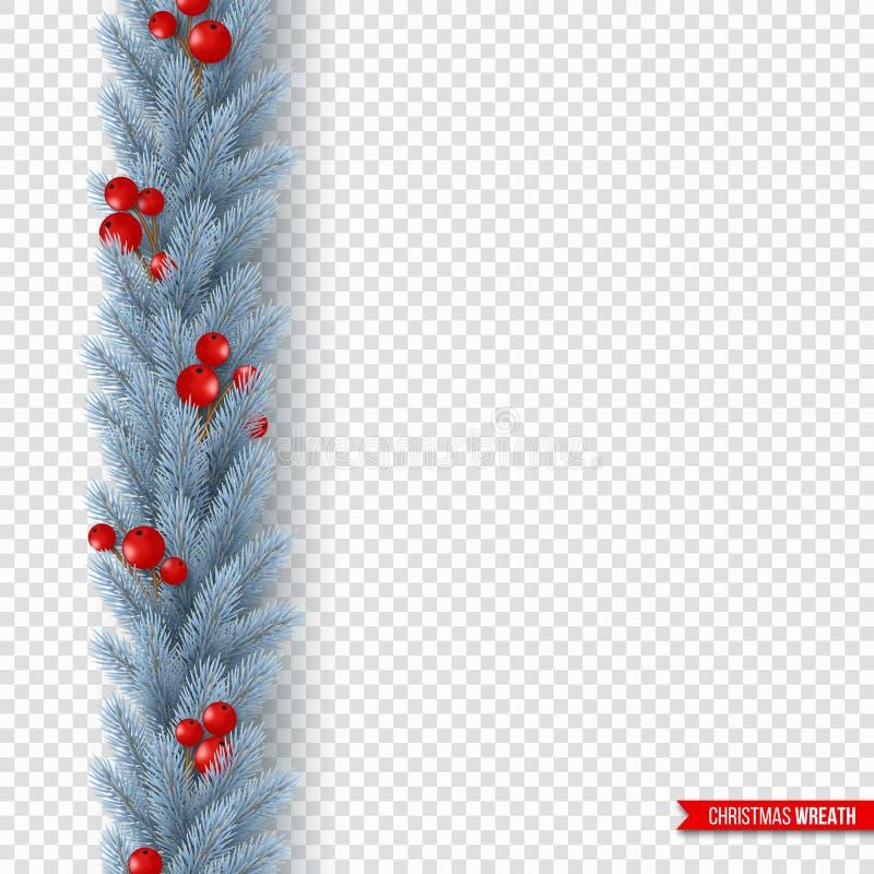 与现实冷杉木分支和莓果的圣诞节花圈 假日海报的,飞行物装饰设计元素 向量例证