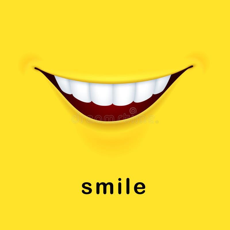 与现实微笑的嘴的微笑黄色背景 库存例证