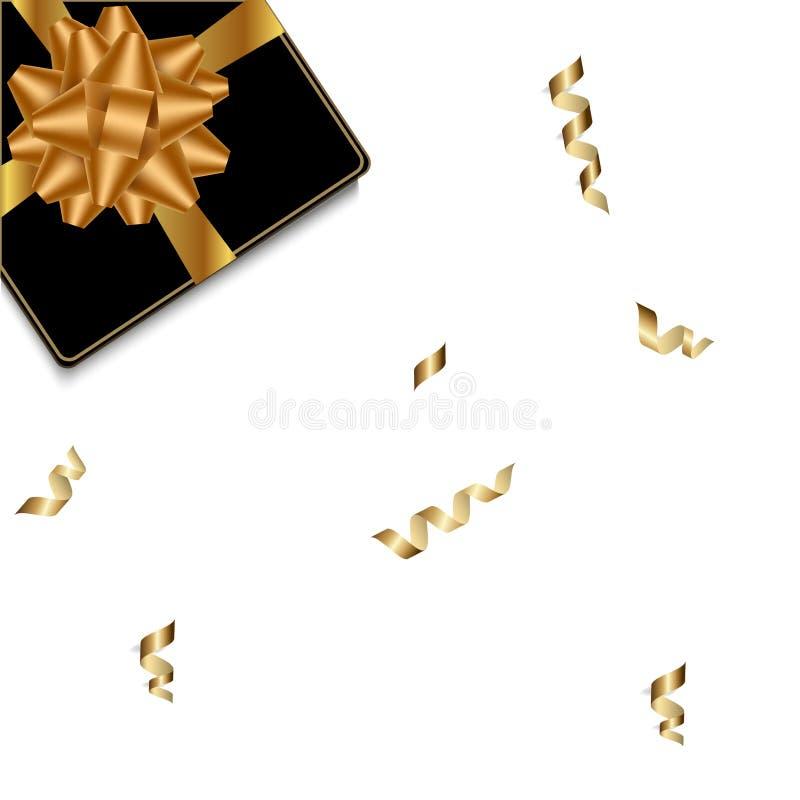 与现实礼物盒和丝带弓的生日背景 顶视图 也corel凹道例证向量 皇族释放例证
