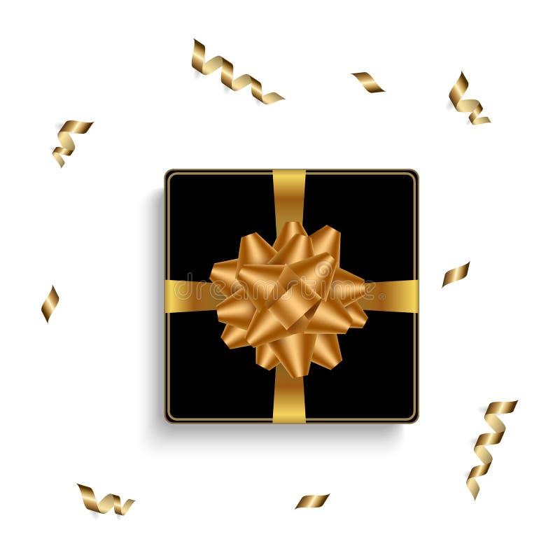 与现实礼物盒和丝带弓的生日背景 顶视图 也corel凹道例证向量 库存例证
