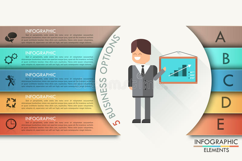 与现实箭头的现代infographics选择横幅 向量 能为网络设计和工作流布局使用 皇族释放例证