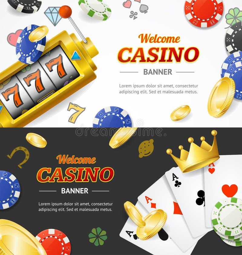 与现实详细的3d元素的赌博娱乐场横幅水平的集合 向量 向量例证