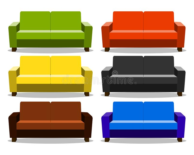 与现实集合沙发,休息室,长椅长沙发,无背长椅象的内部 在白色的长沙发现实动画片 向量例证