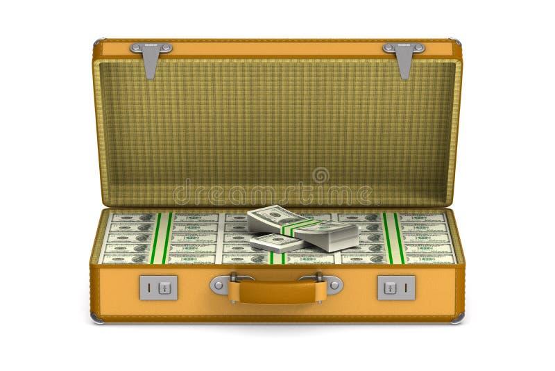 与现金金钱的案件在白色背景 r 皇族释放例证