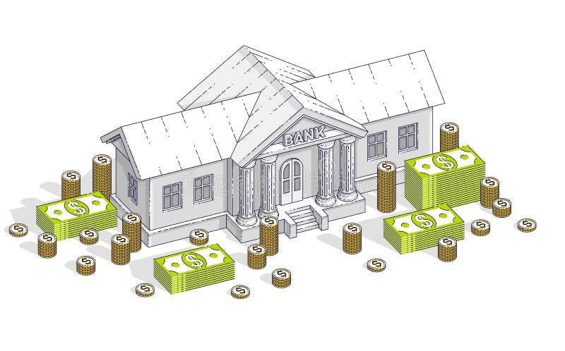 与现金金钱美元堆和分s的老动画片银行大楼 皇族释放例证