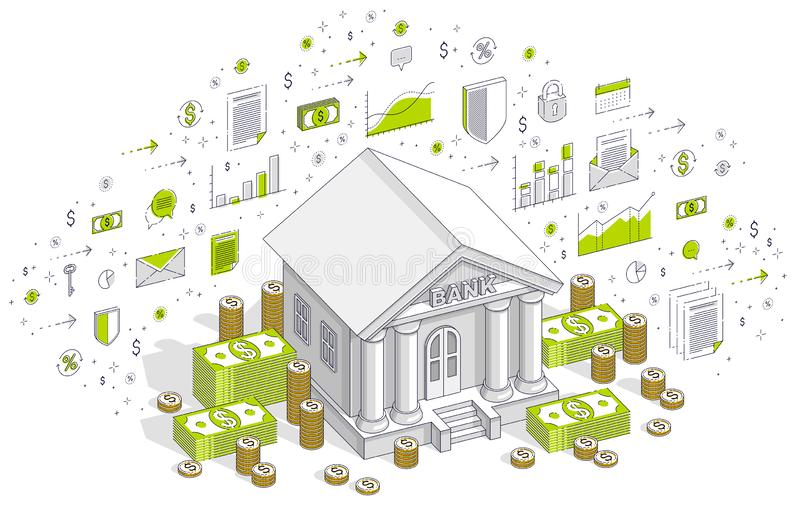 与现金金钱美元堆的银行大楼和硬币堆动画片被隔绝在白色背景 r 皇族释放例证