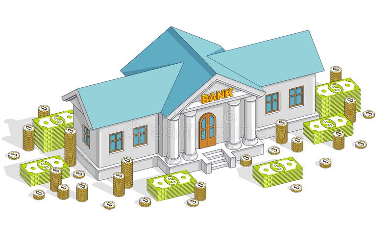 与现金金钱美元堆的银行大楼和硬币堆积动画片被隔绝在白色背景 传染媒介3d等量事务和 向量例证