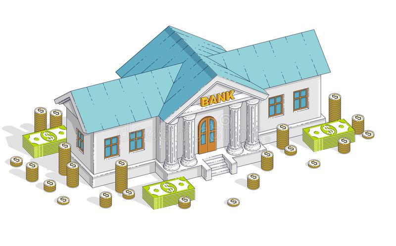 与现金金钱美元堆的银行大楼和硬币堆积动画片 皇族释放例证