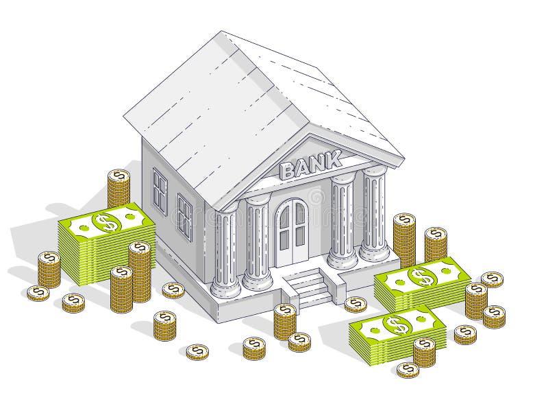 与现金金钱美元堆的银行大楼和硬币堆积动画片 库存例证