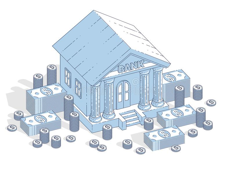 与现金金钱美元堆的银行大楼和硬币堆积动画片 向量例证