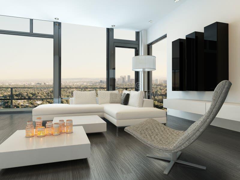 与现代家具的豪华白色客厅内部 向量例证