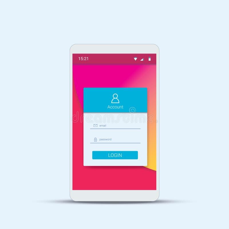 与现代物质设计的流动注册菜单模板智能手机的app 皇族释放例证
