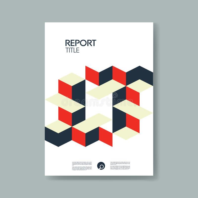 与现代物质设计等量立方体的每年业务报告盖子模板称呼传染媒介背景 向量例证