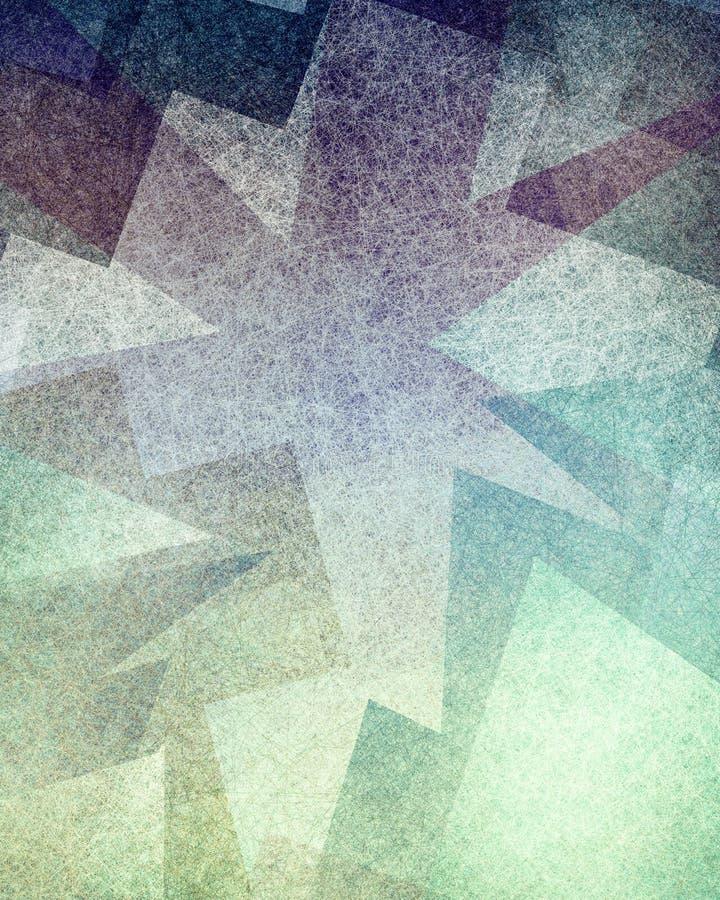 与现代艺术几何形状和三角样式层数的抽象蓝色紫色和绿色背景设计与纹理 库存例证