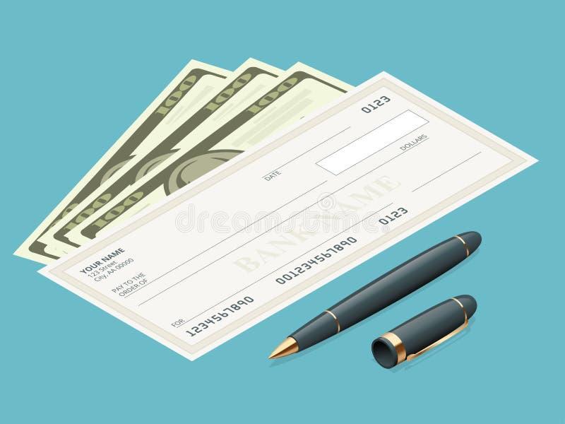 与现代设计的银行支票 平的例证 在色的背景的支票簿 与笔的银行支票 概念 向量例证