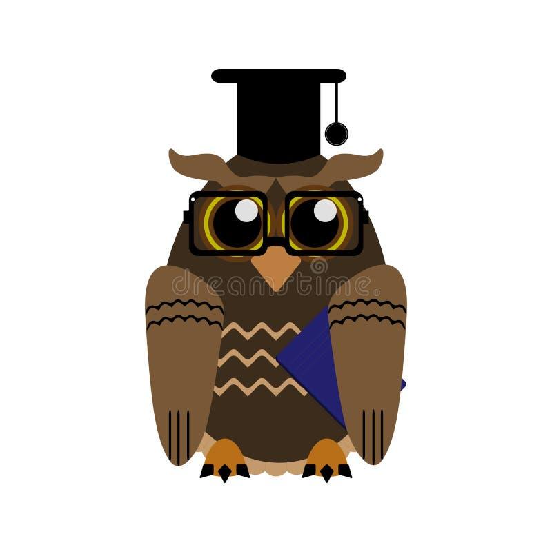 与玻璃和学术盖帽的滑稽的猫头鹰 r 皇族释放例证