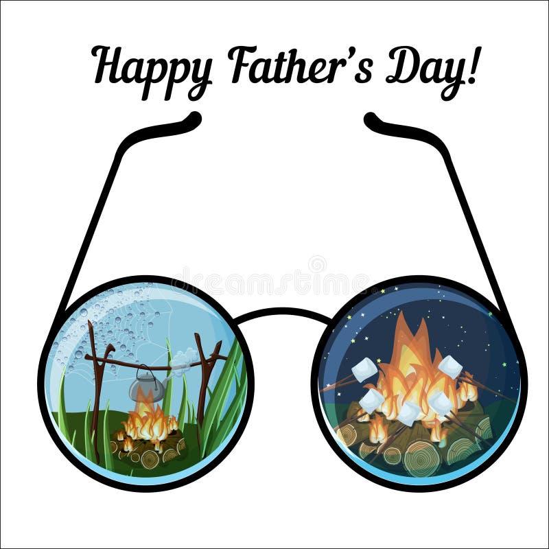 与玻璃和日夜野营的风景的愉快的父亲节贺卡模板 皇族释放例证