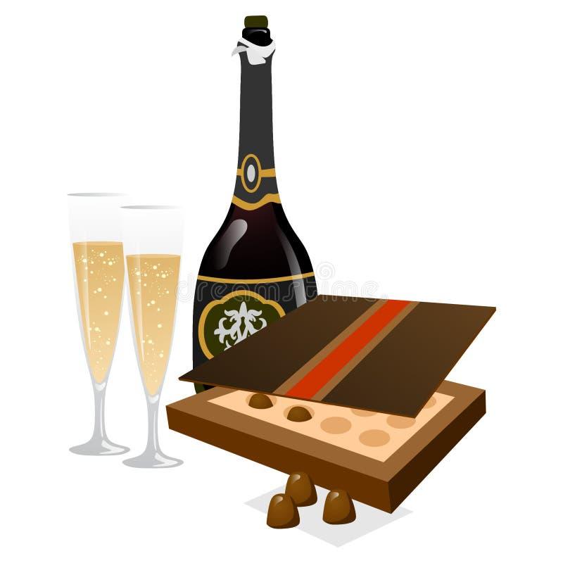 与玻璃和箱的鲜美香槟巧克力 库存例证