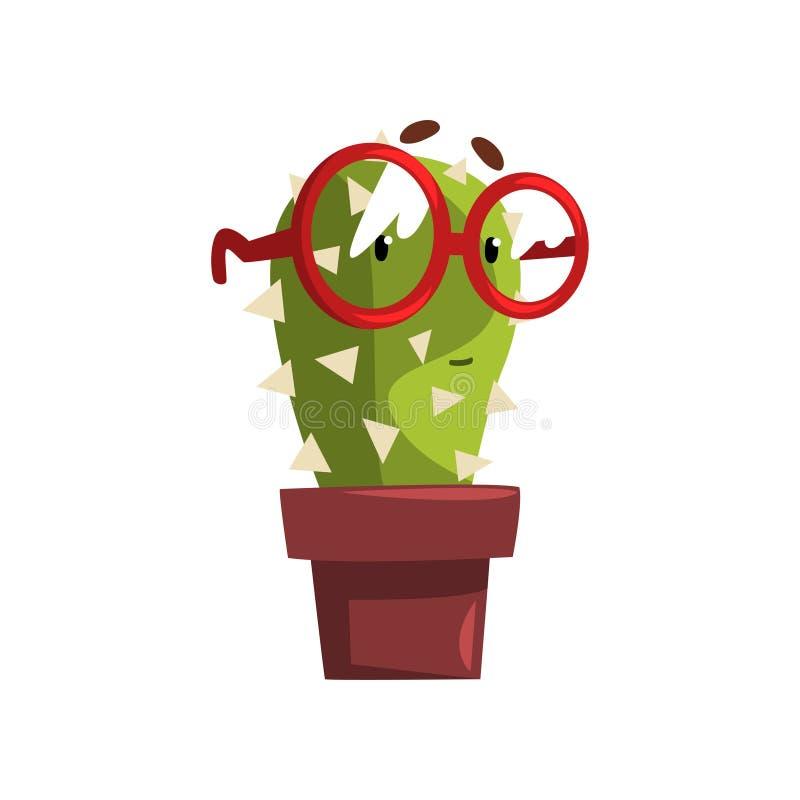 与玻璃在泥罐,有滑稽的面孔的多汁植物的聪明的仙人掌字符在花盆在a的传染媒介例证 库存例证