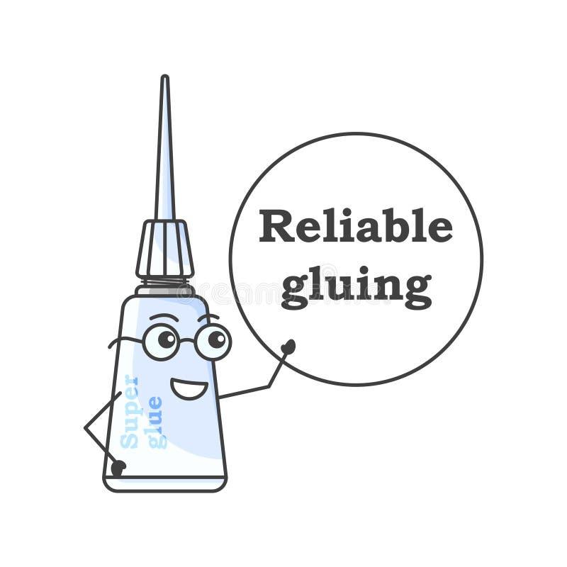 与玻璃的动画片超级胶浆在板-胶浆安全地显示 在白色背景的被隔绝的传染媒介例证 向量例证