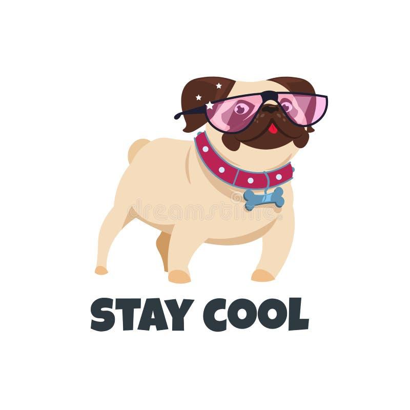 与玻璃的哈巴狗狗 滑稽的小狗朋友 逗人喜爱的哈巴狗宠物 逗留凉快的传染媒介例证 库存例证
