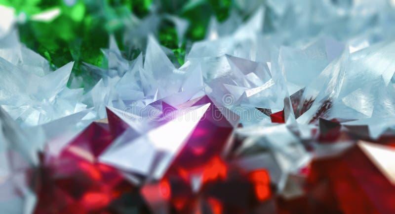 与玻璃的抽象在红宝石和宝石的背景和水晶 免版税库存照片