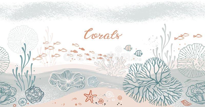 与珊瑚、海藻、鱼和海星的无缝的水平的样式 库存例证