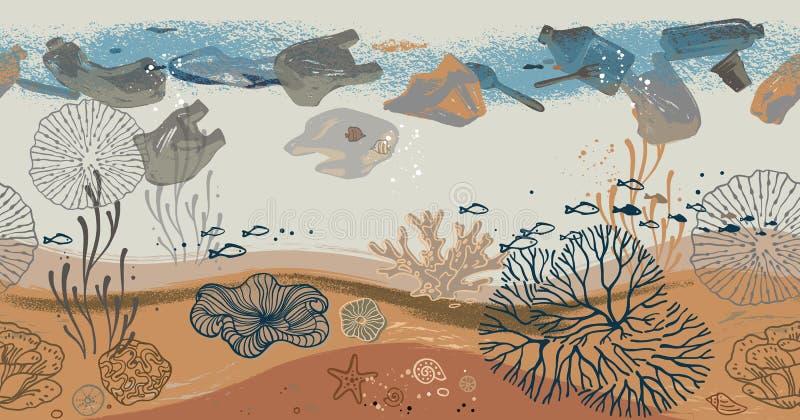 与珊瑚、海藻、鱼和海星的无缝的水平的样式 向量例证